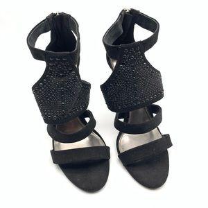 Audrey Brooke Black Leather Sandals
